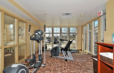 Fitness center with recumbent bike and ellipitcal