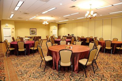 Banquet hall set with round tables