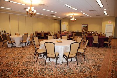 Event space set with banquet tables and chairs