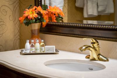 Bathroom vanity with luxe bath amenities