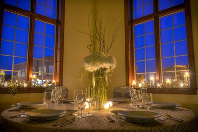 Candlelit banquet table