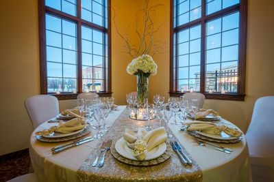 Elegantly set banquet table